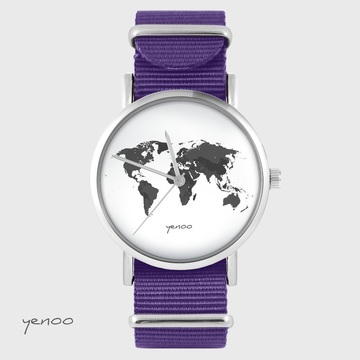 Yenoo watch - World map - purple, nylon