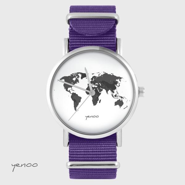 Yenoo watch - World map - purple, nylon