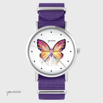 Yenoo watch - Butterfly - purple, nylon