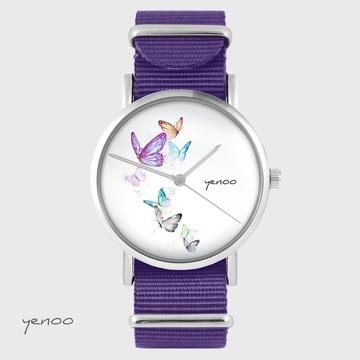 Yenoo watch - Butterflies - purple, nylon