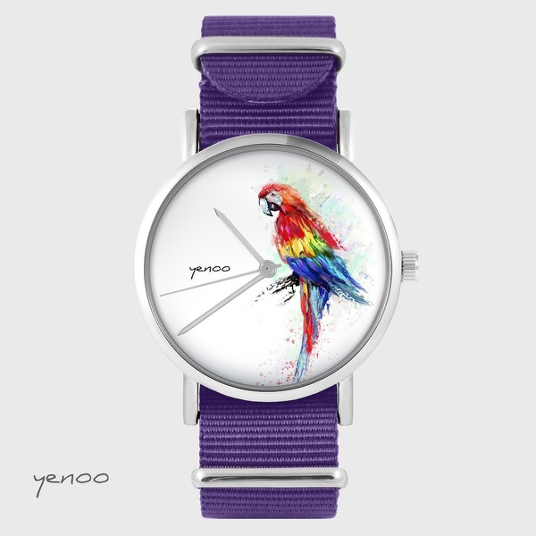 Yenoo watch - Red parrot - purple, nylon