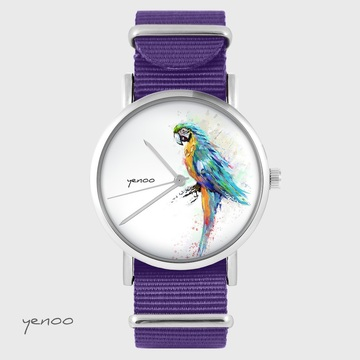 Watch yenoo - turquoise parrot - purple, nylon
