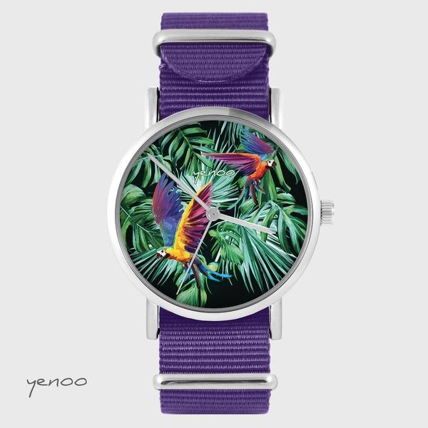 Zegarek yenoo - Papugi, tropikalny - fiolet, nylonowy