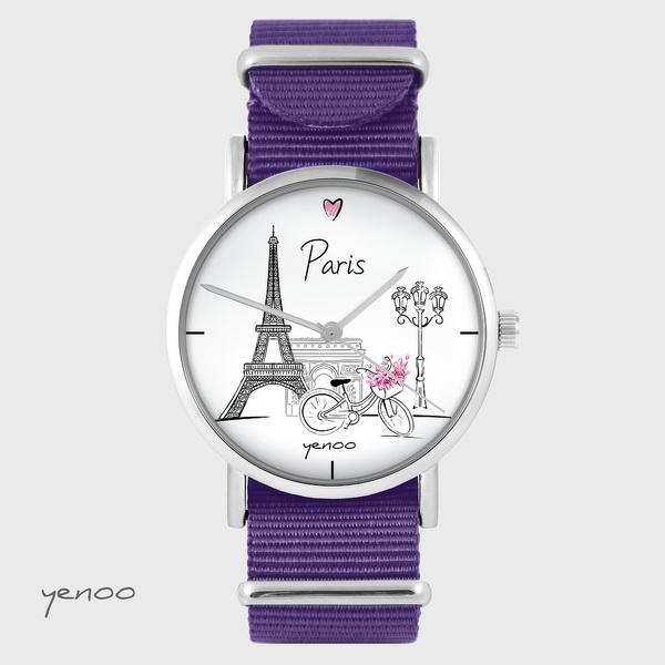 Zegarek yenoo - Paryż - fiolet, nylonowy