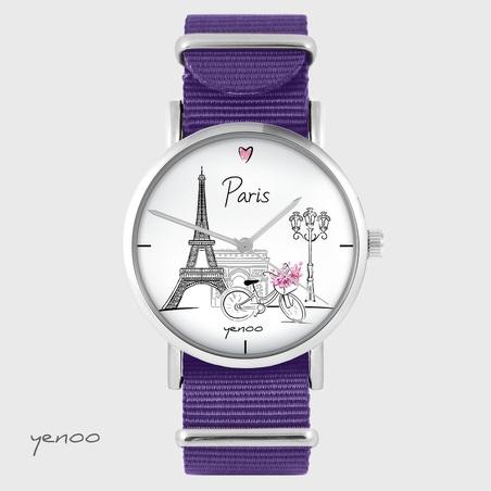 Yenoo watch - Paris - purple, nylon
