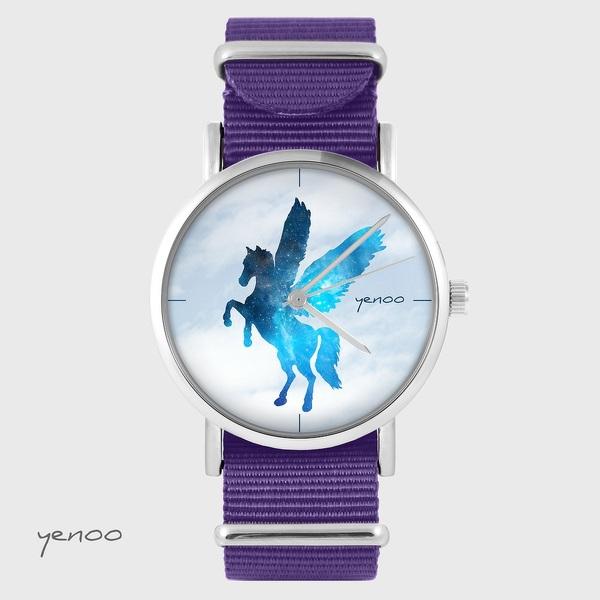 Zegarek yenoo - Pegaz - fiolet, nylonowy