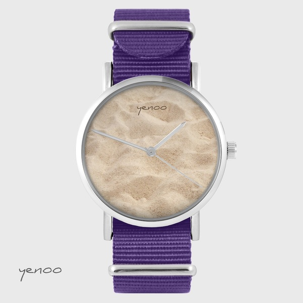 Zegarek yenoo - Piasek - fiolet, nylonowy