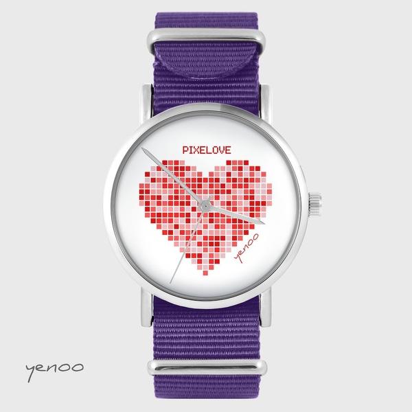 Zegarek yenoo - Pixelove - fiolet, nylonowy
