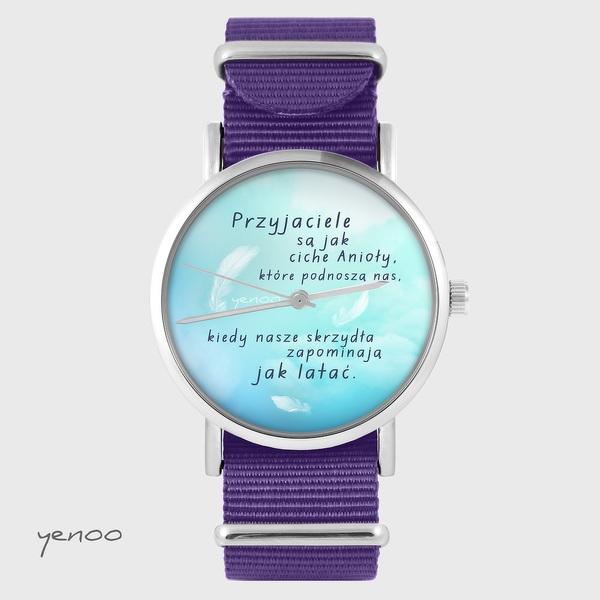 Zegarek yenoo - Przyjaciele - fiolet, nylonowy