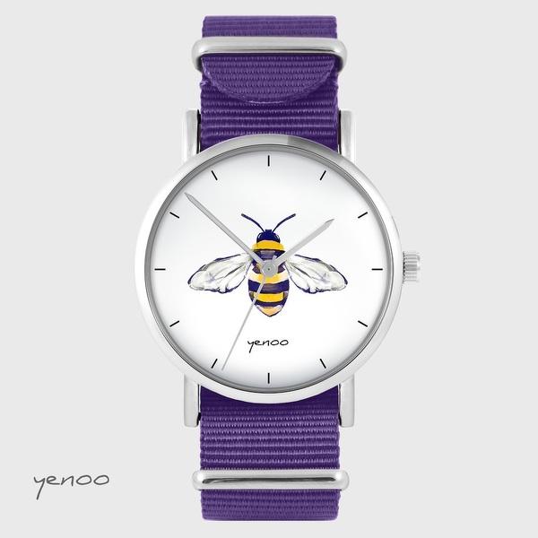 Zegarek yenoo - Pszczoła - fiolet, nylonowy