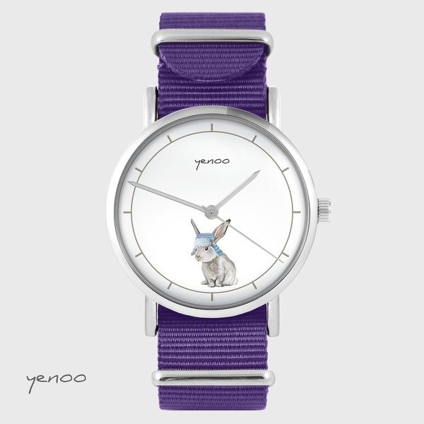Zegarek yenoo - Ptaszki folkowe - fiolet, nylonowy