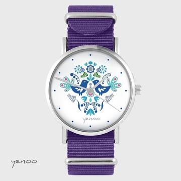 Yenoo watch - Folk birds, blue - purple, nylon