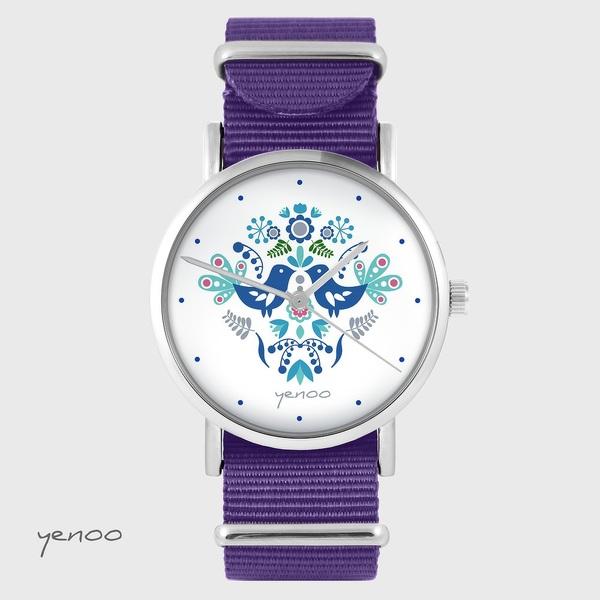 Zegarek yenoo - Ptaszki folkowe, niebieskie - fiolet, nylonowy