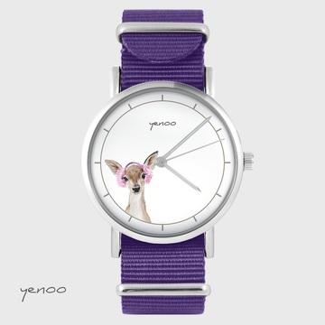 Yenoo watch - Roe-deer - purple, nylon