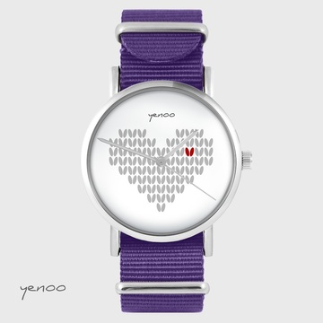 Yenoo watch - Knitted heart - purple, nylon