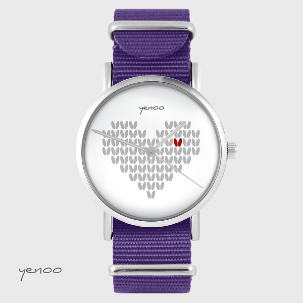 Yenoo watch - Knitted heart - purple, nylon