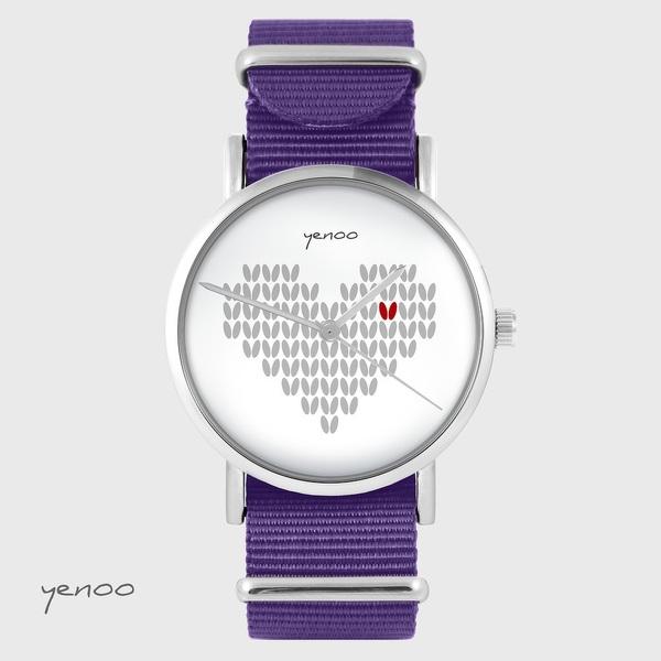 Zegarek yenoo - Serce dziergane - fiolet, nylonowy