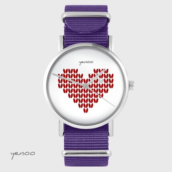 Zegarek yenoo - Serce dziergane, czerwony - fiolet, nylonowy