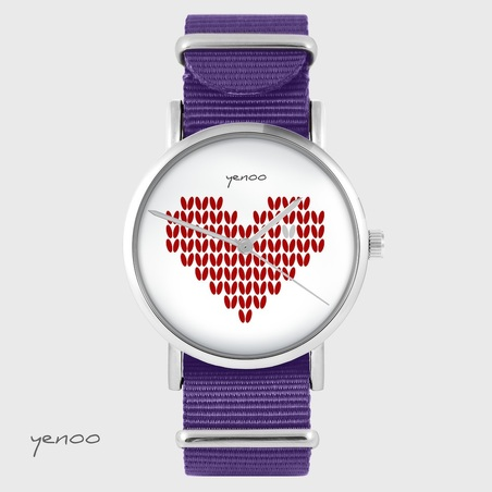 Yenoo watch - Knitted heart, red - purple, nylon