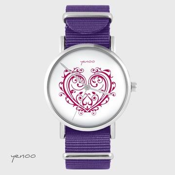 Yenoo watch - Ornamental heart - purple, nylon