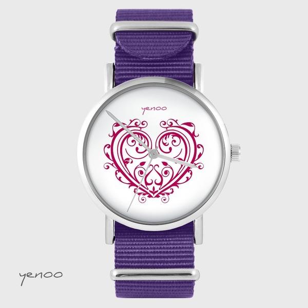 Zegarek yenoo - Serce ornamentowe - fiolet, nylonowy