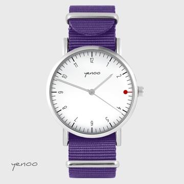 Yenoo watch - Simple elegance, white - purple, nylon