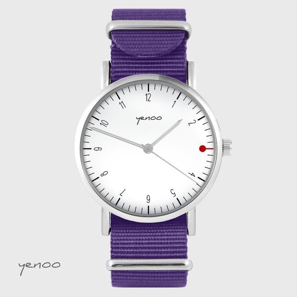 Zegarek yenoo - Simple elegance, biały - fiolet, nylonowy
