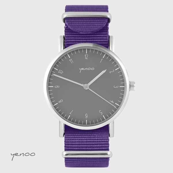 Zegarek yenoo - Simple elegance, szary - fiolet, nylonowy