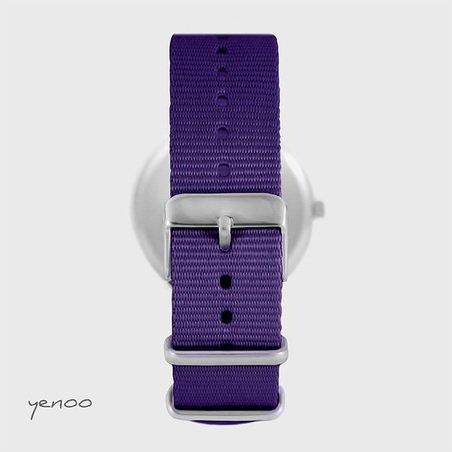 Yenoo watch - Blue Stars - purple, nylon