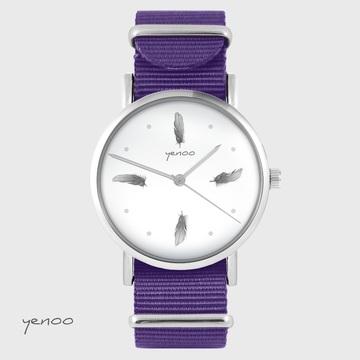 Yenoo watch - Gray feathers - purple, nylon