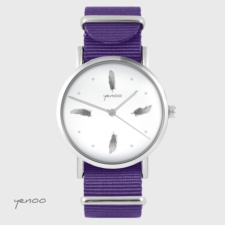 Yenoo watch - Gray feathers - purple, nylon