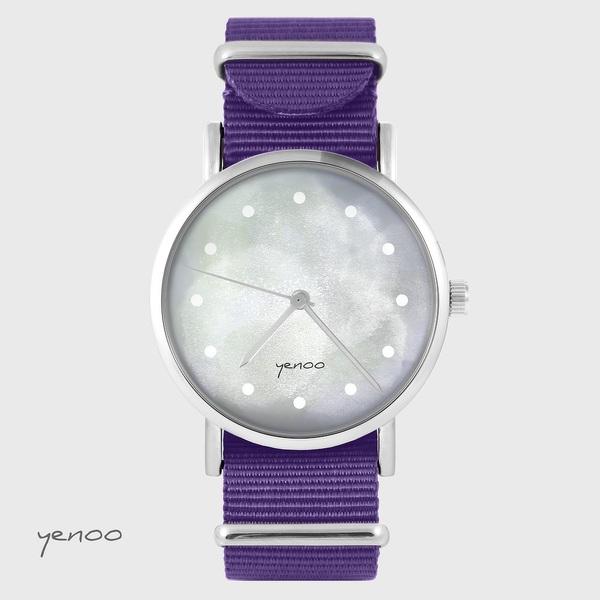 Zegarek yenoo - Szary - fiolet, nylonowy
