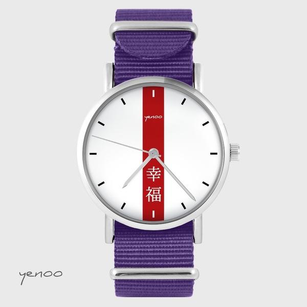 Zegarek yenoo - Szczęście - fiolet, nylonowy