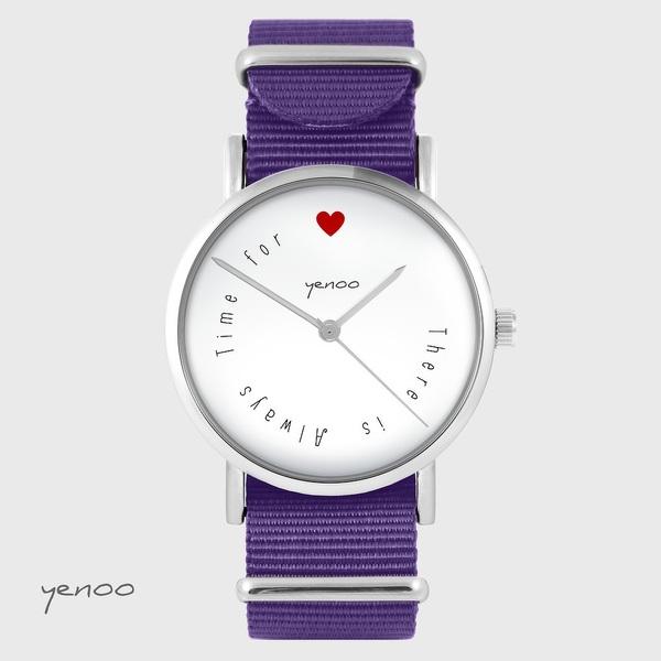 Zegarek yenoo - There is... - fiolet, nylonowy