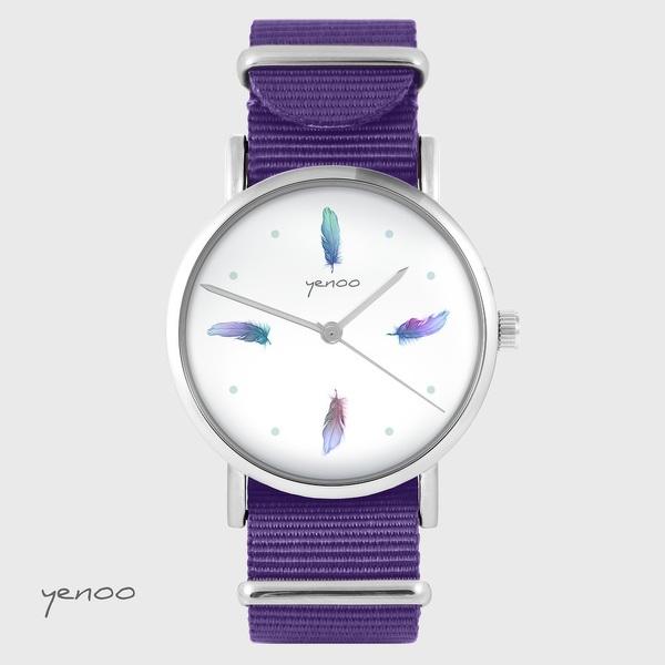 Zegarek yenoo - Turkusowe piórka - fiolet, nylonowy