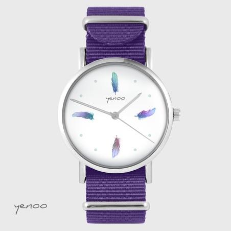 Yenoo watch - Turquoise feathers - purple, nylon