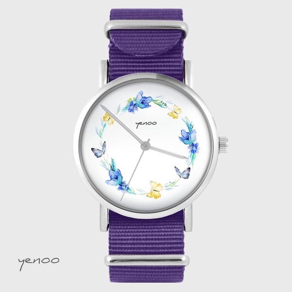 Zegarek yenoo - Wianek motyle - fiolet, nylonowy
