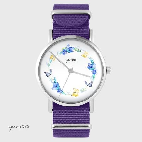 Watch yenoo - Wreath of butterflies - purple, nylon