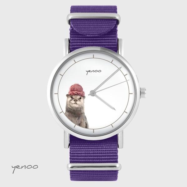 Zegarek yenoo - Wydra - fiolet, nylonowy