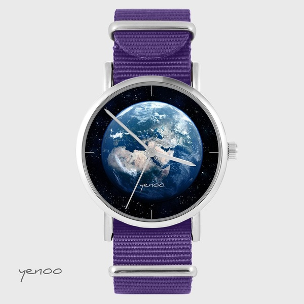 Yenoo watch - Earth - purple, nylon