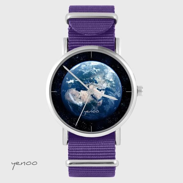 Zegarek yenoo - Ziemia - fiolet, nylonowy