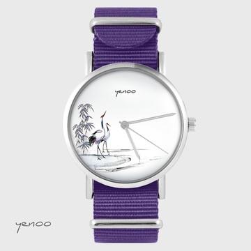 Yenoo watch - Sumi-e cranes - purple, nylon