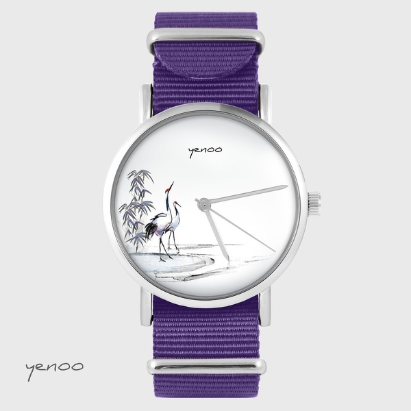 Zegarek yenoo - Żurawie sumi-e - fiolet, nylonowy