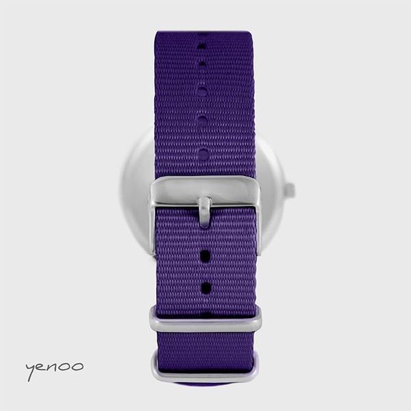 Yenoo watch - Blue Stars - purple, nylon