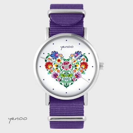 Yenoo watch - Folk heart - purple, nylon