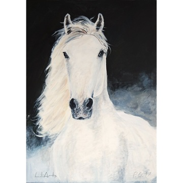 Painting - White horse-...