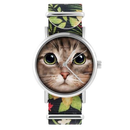 Yenoo watch - Tiger kitten - flowers, black, nylon