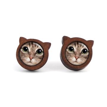 Wooden earrings - Tiger...