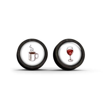 Wooden earrings - AM-PM - black