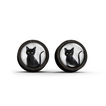Wooden earrings - Black cat - black